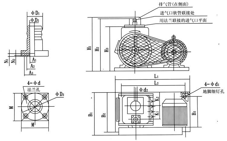 2X-4A型双级的安装尺寸表